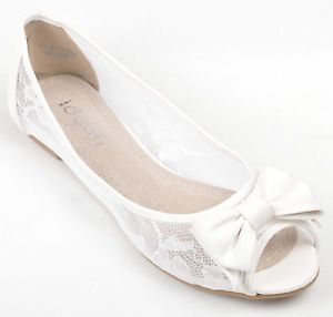 white flats details about white lace diamante wedding ballerina bridal flat pumps uk 3  4 5 xmedjji