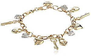 white gold charm bracelet 14k yellow white gold heart lock and key link charm bracelet, 7.25 cbmohym