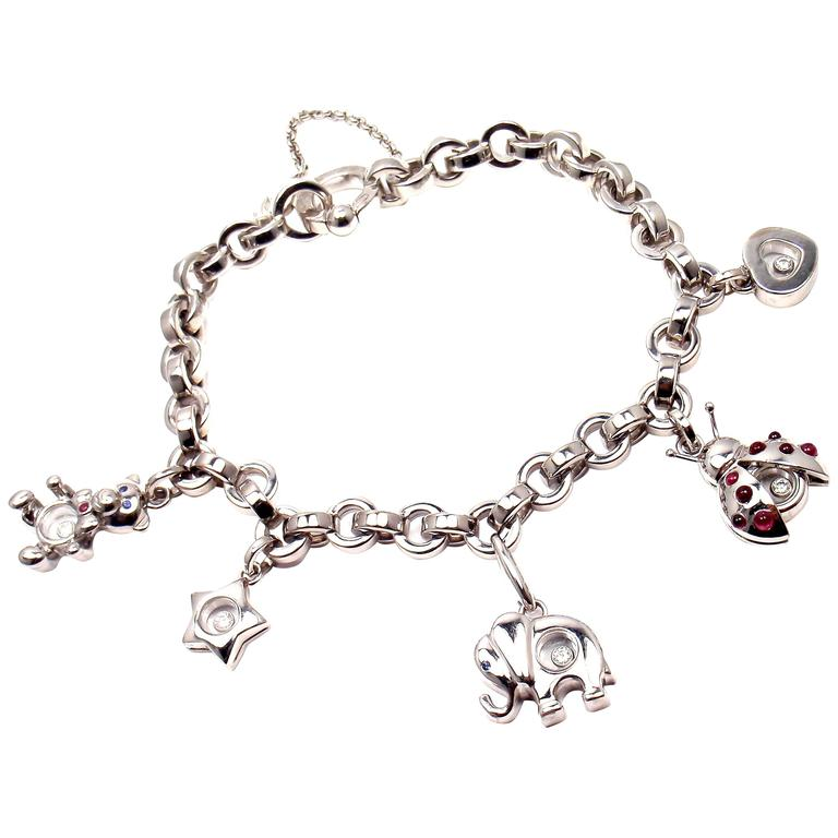 white gold charm bracelet chopard happy diamond elephant ruby ladybug bear heart white gold charm  bracelet 1 jfbeedt