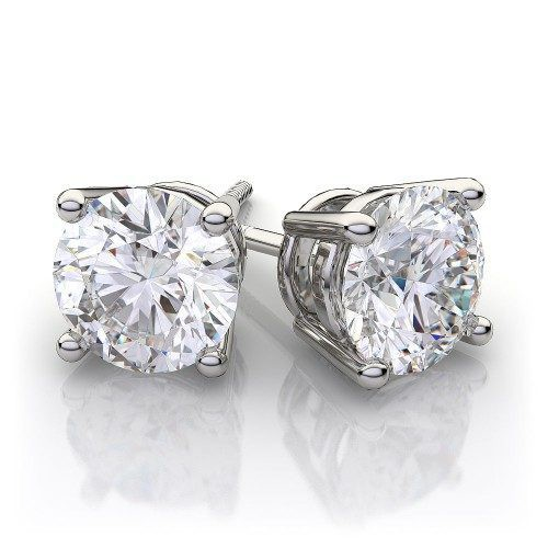 White Gold Diamond Earrings 0 70 Ctw Round Stud In 14k Vs H