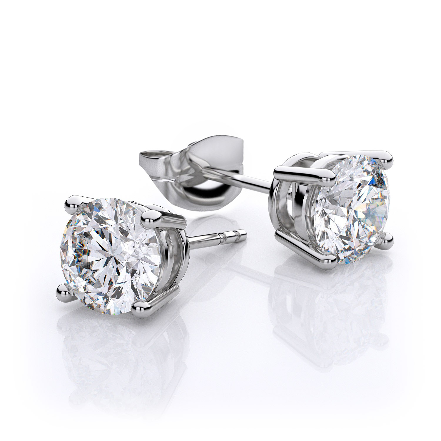 white gold diamond earrings ... 2.00 ct. t.w. 4 prong round diamond stud earrings in 14k white gold gia ngtwouv