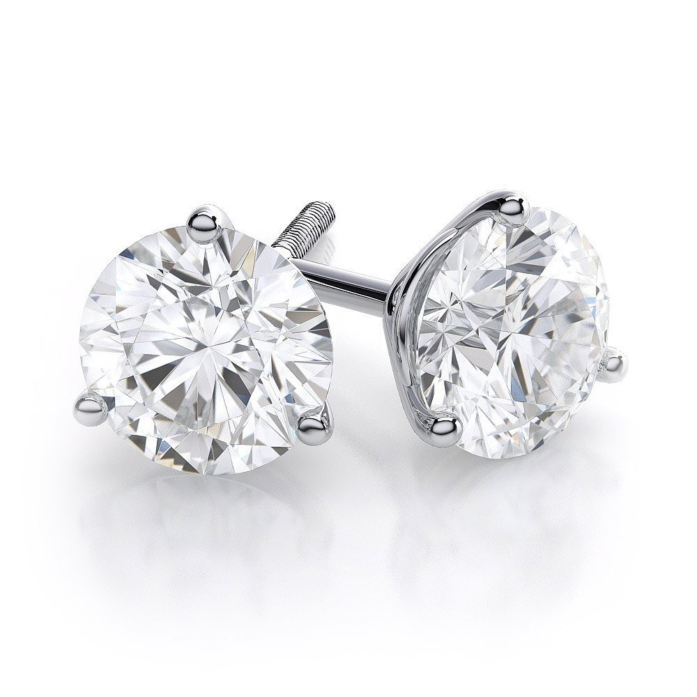 white gold diamond earrings 3 prong round diamond martini stud earrings in 14k white gold or platinum rzvvlqf