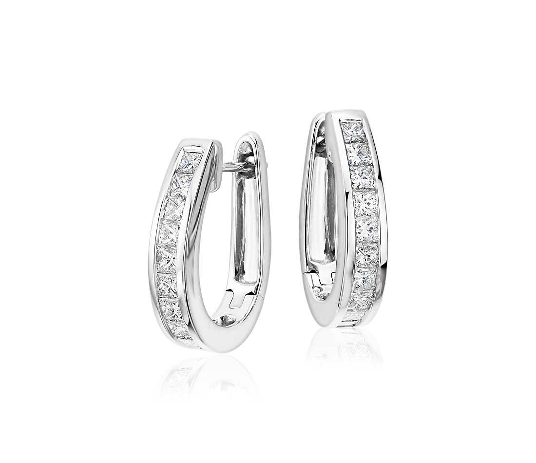 White Gold Diamond Earrings Princess Cut Hoop In 18k 1