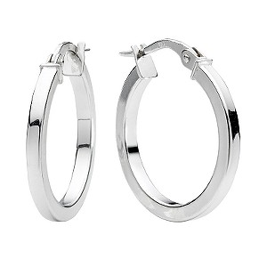 white gold earrings 9ct white gold plain round creole hoop earrings - ernest jones xdveowq