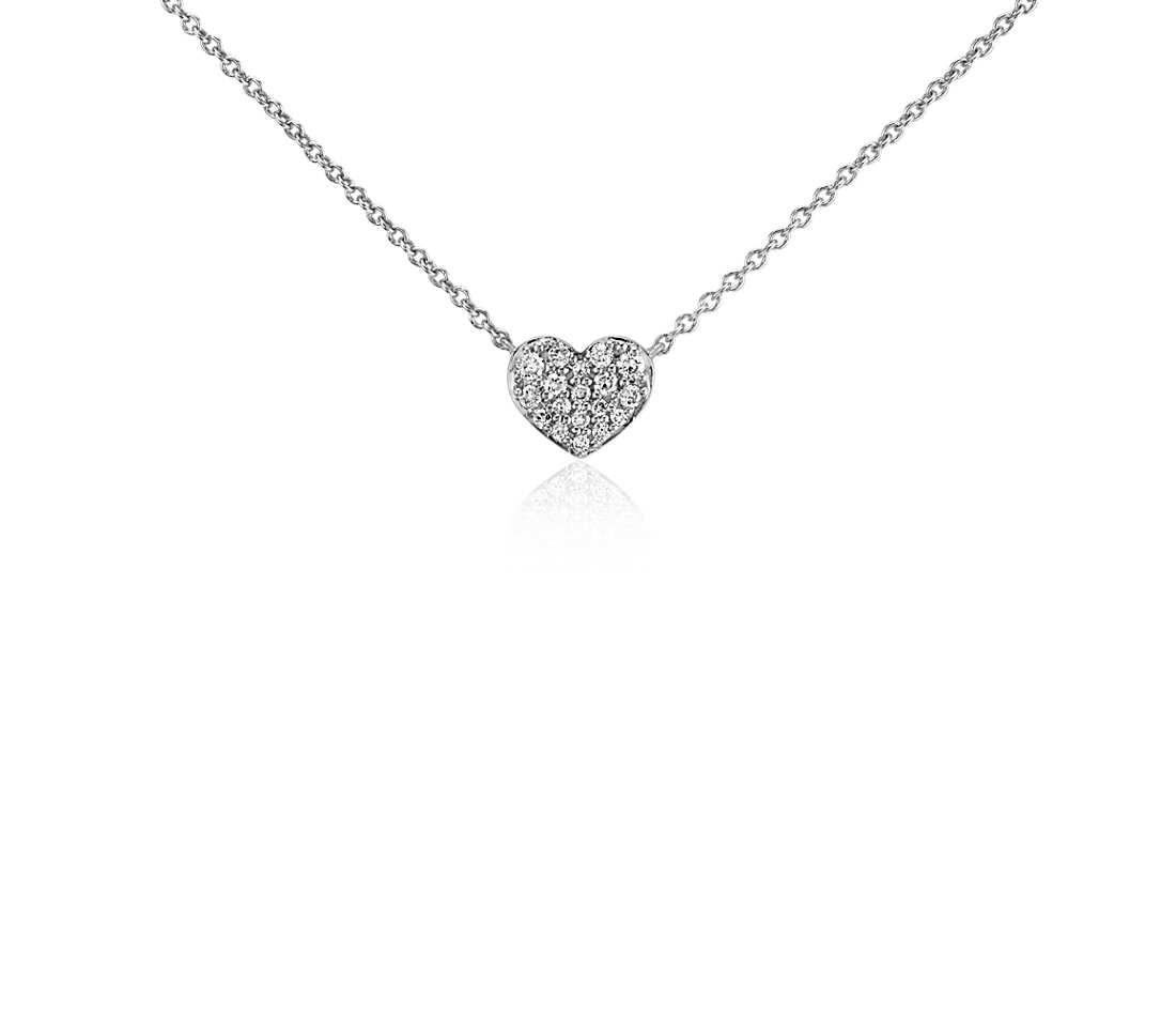 white gold necklace mini diamond heart necklace in 14k white gold nxmmnrn