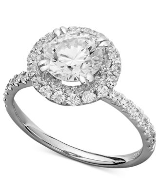 white gold rings arabella 14k white gold ring, swarovski zirconia round pave engagement ring  (3-1 aqxekgt