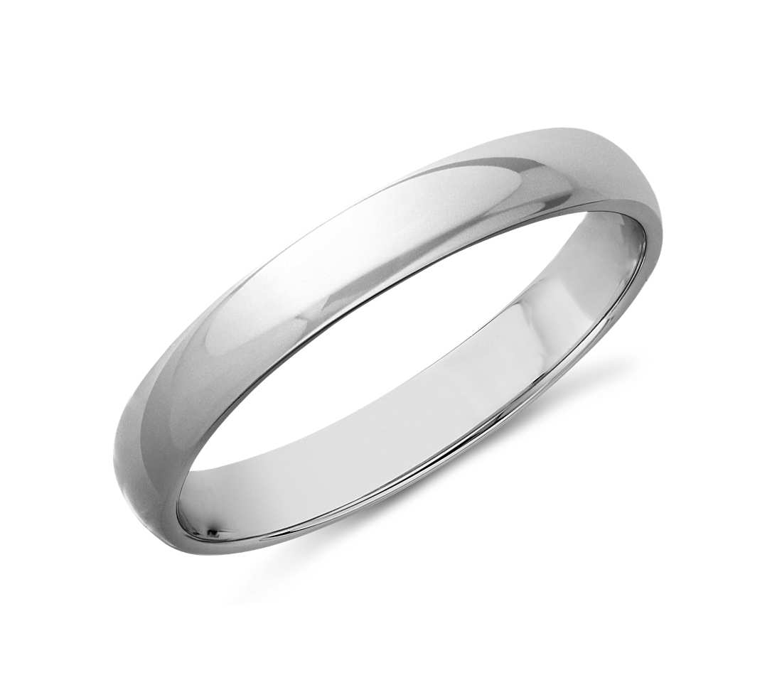 white gold rings classic wedding ring in 14k white gold (3mm) bslxnhu