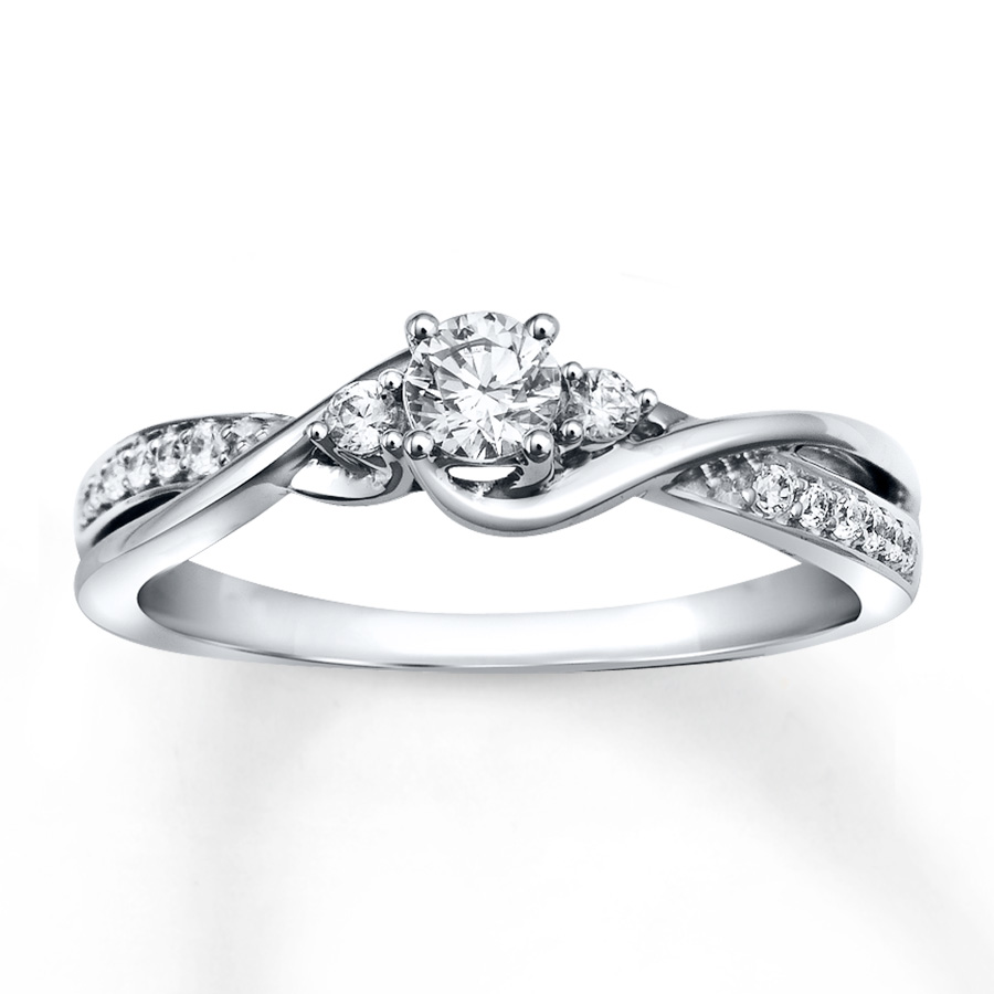 white gold rings diamond engagement ring 1/3 ct tw round-cut 10k white gold xebykau