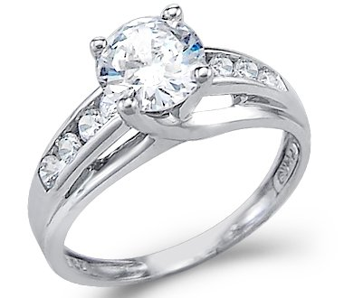 white gold rings size- 10 - solid 14k white gold solitaire round cz cubic zirconia  engagement ring fknxgry