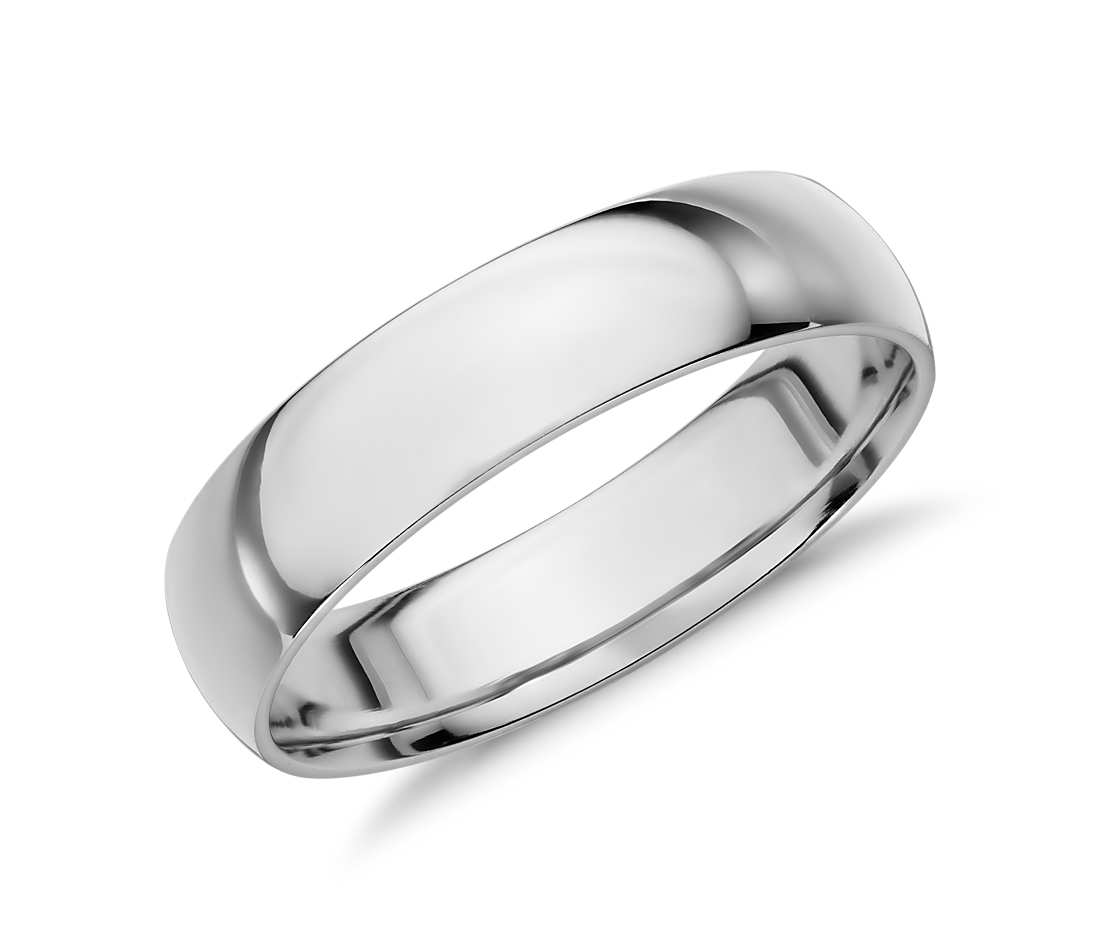 white gold wedding bands mid-weight comfort fit wedding band in 14k white gold (5mm) ztykudl