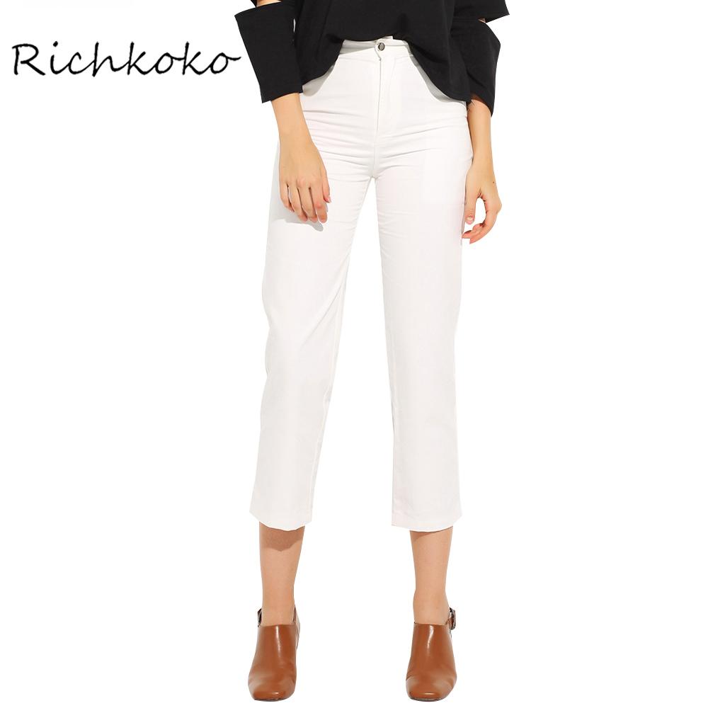 white pants for women richkoko fashion autumn new women pants pockets solid white cropped street  style bottom slim xumfokc