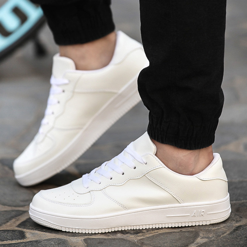 white shoes for men 2017breathable fashion men shoes casual pu leather lace up flat with black  red white vhvkqpo