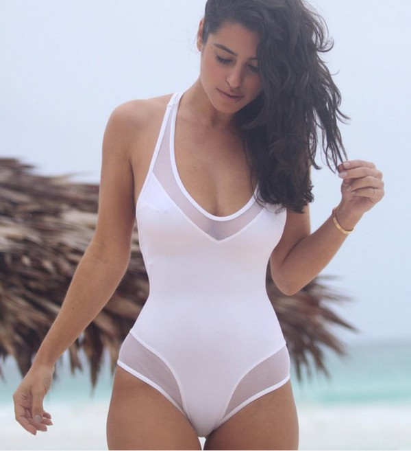 white swimsuit swimwear: white, mesh, see through, one piece swimsuit, onesie, one piece,  summer, spring, low ffccasb