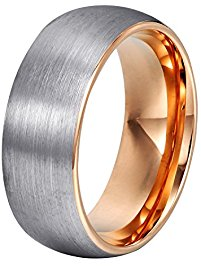 will queen domed matte tungsten wedding bands, rose gold interior  anniversary rings for men xybivnw