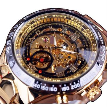 winner fashion shining roman numerals mechanical watch luxury golden men automatic  watch ckezjdi
