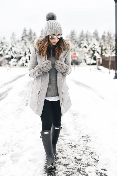 winter outfits coat: crystalin marie blogger leggings shoes hat beanie gloves winter  outfits grey wellies grey iimpvbw