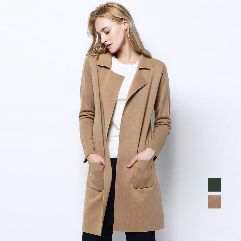 women cardigan 100%merino wool women cardigans sueter knit sweater top 2015 fall winter  new pocket long rumehmj