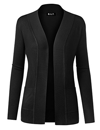 women cardigan bily women open front long sleeve classic knit cardigan black small mxgnkdn
