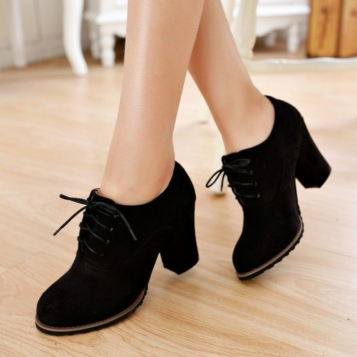 women ladies ankle boots lace ups block chunky heel creeper faux suede shoes fvxeaed