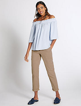 womens chinos pure cotton turn up standard chinos kuqexzs