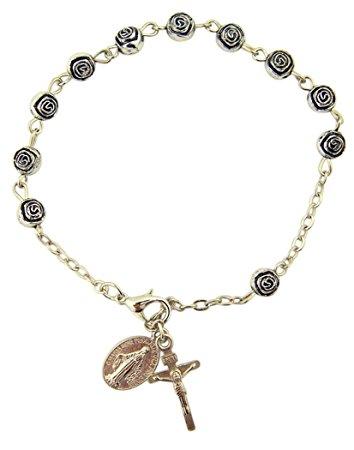 womens or girls, religous u0026 inspirational catholic rosebud rosary bracelet,  antique silver plate 6 gjylcww
