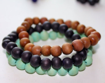 wooden beaded bracelets - set of 3, stackable bracelets, boho bracelet,  stretch bracelet ADLTDWC