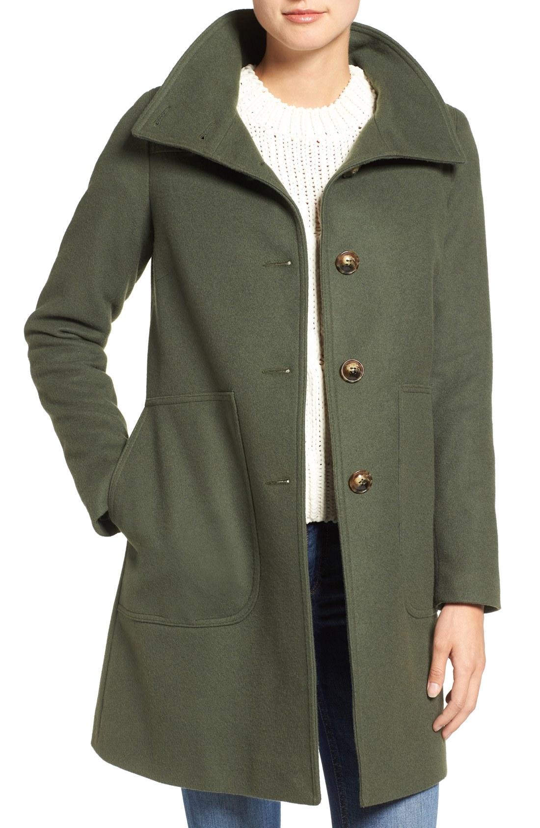 wool coat kristen blake funnel neck wool blend coat (regular u0026 petite) | nordstrom lodqwme