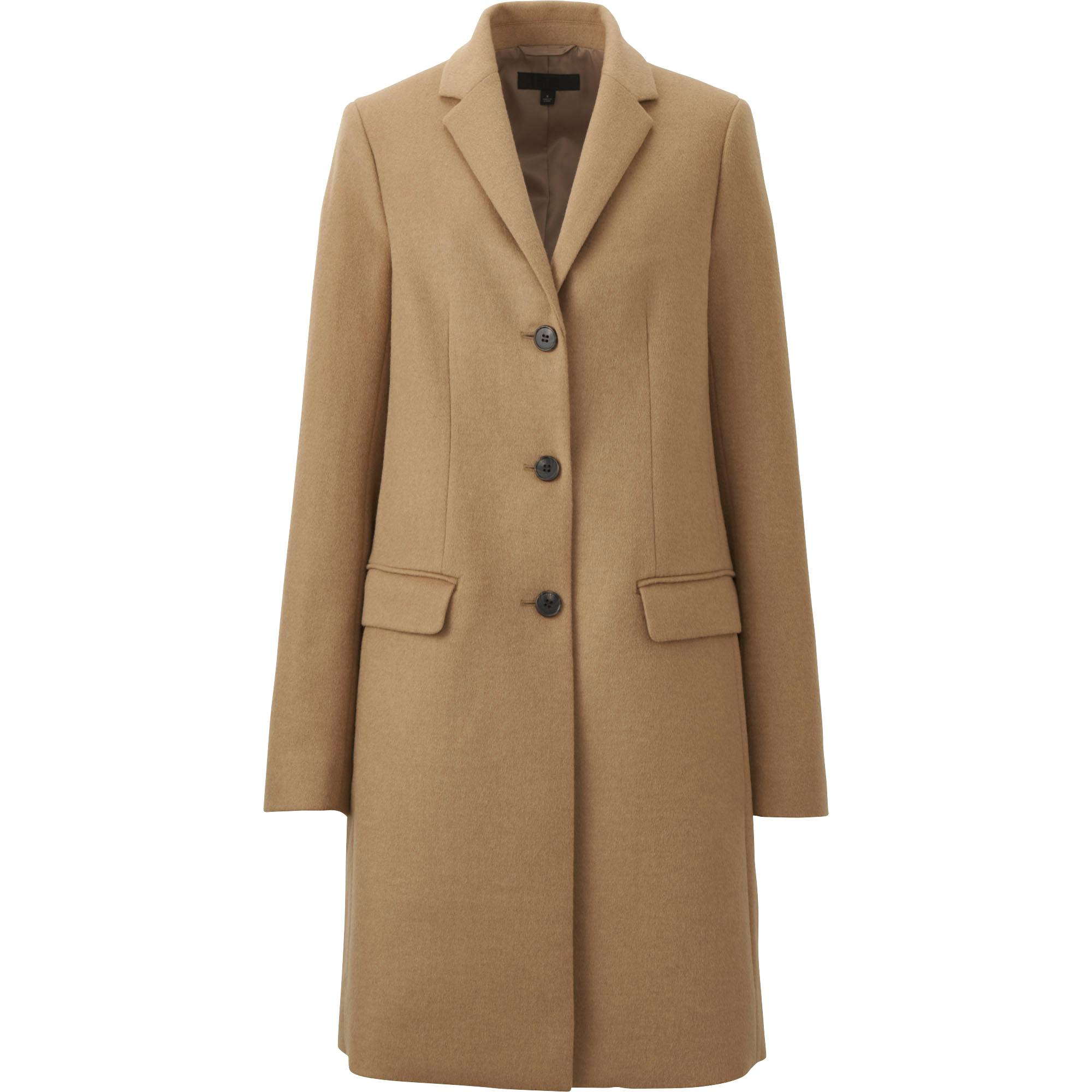 wool coat women wool cashmere chester coat, beige, small zmlonzo