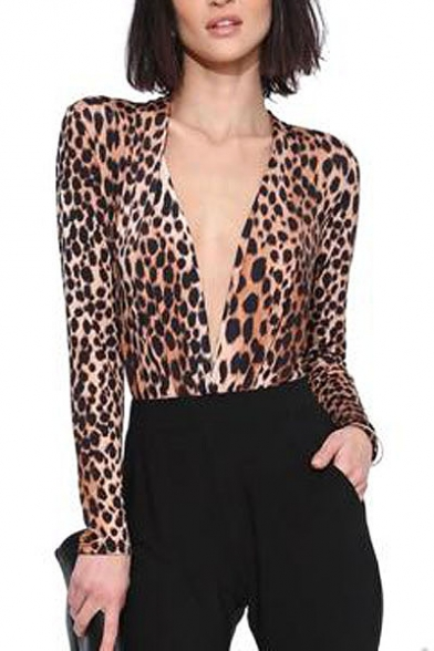 wrap front deep v-neck long sleeve leopard print top ksqvany