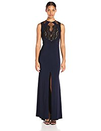 xscape dresses xscape womenu0027s long ity dress with lace/illusion top mwoiglp