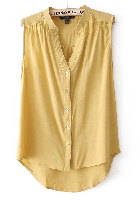 yellow buttons pleated v-neck sleeveless chiffon blouse dswbuji