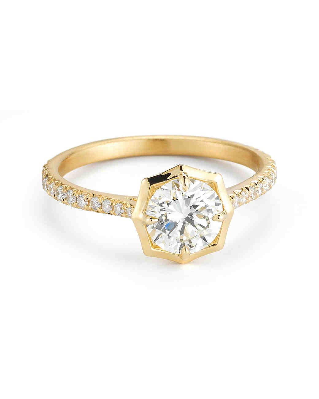 yellow gold engagement rings | martha stewart weddings cbfydpf