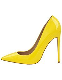 yellow shoes lovirs womens pointed toe high heel slip on stiletto pumps wedding party  basic shoes kbesbmu
