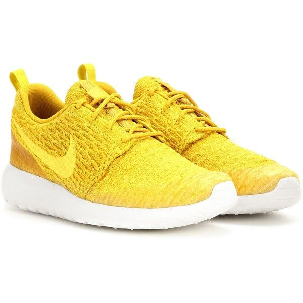 yellow shoes nike nike roshe one flyknit sneakers ($145) ❤ liked on polyvore featuring  shoes, vmwdefq