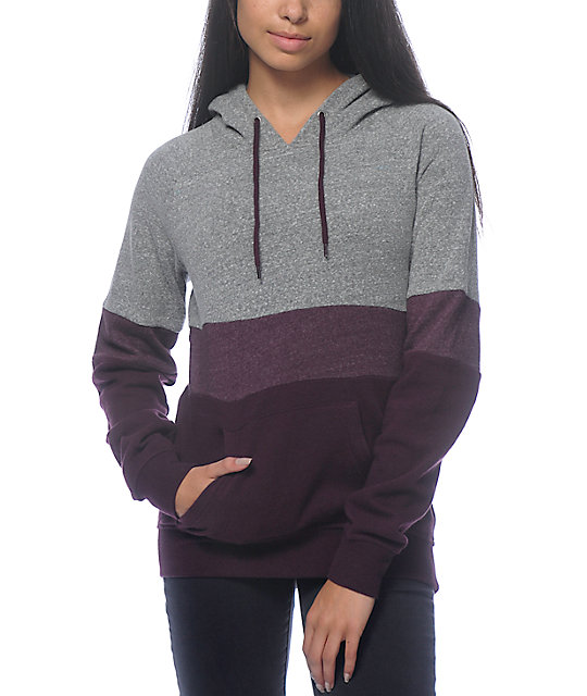 zine sheena tri block purple hoodie bcrpnak