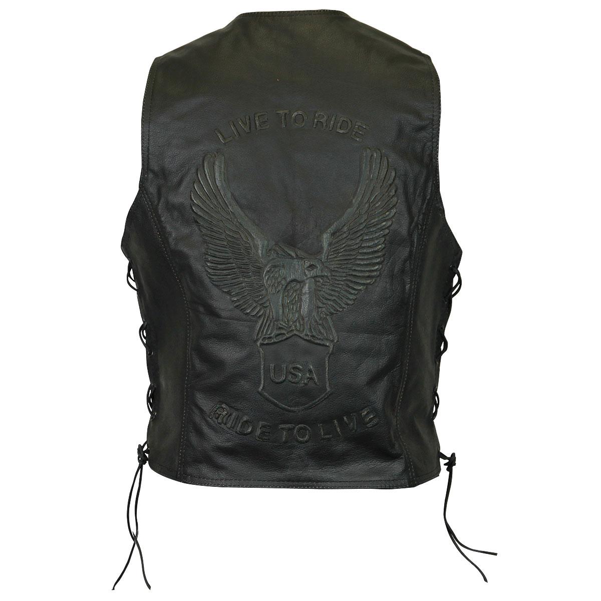 ... black eagle embossed leather vest ... ocjeotw