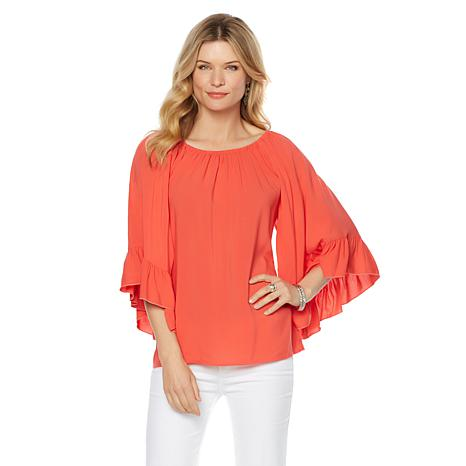 ... curations ruffle-sleeve peasant blouse ... iyeixrv