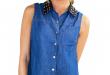 ... denim blouse with leather studded neck (final sale) ... bbfvbyb