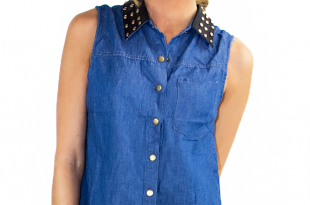 ... denim blouse with leather studded neck (final sale) ... bbfvbyb
