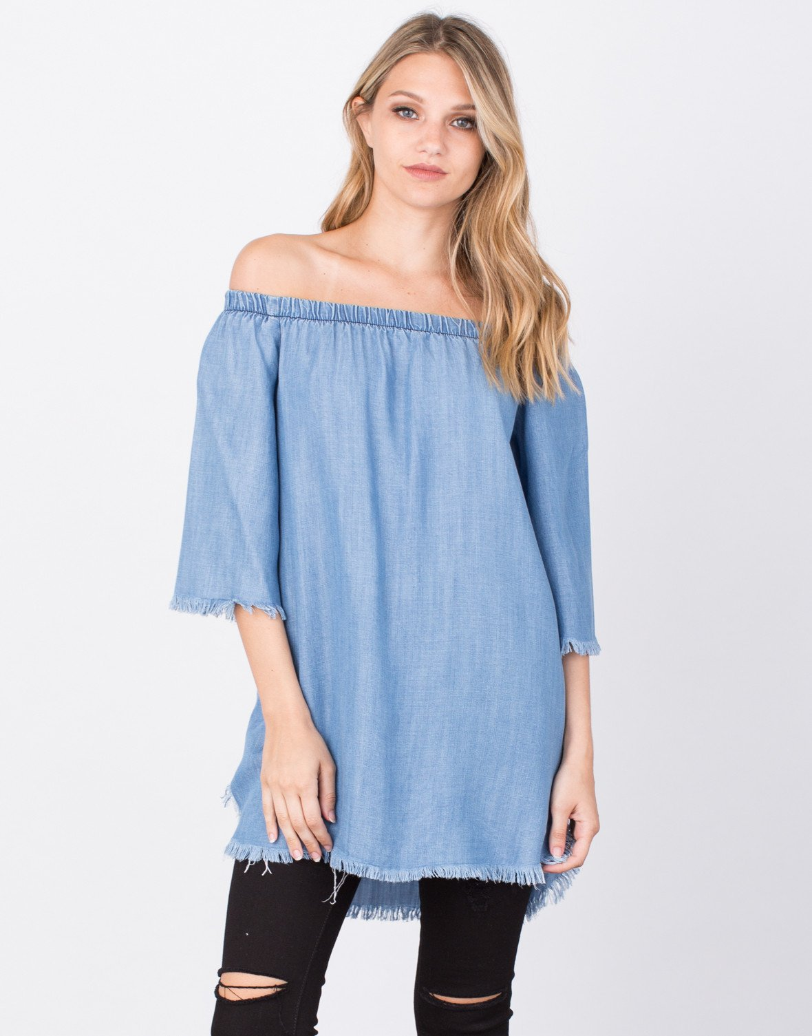 ... front view of frayed denim tunic top ... icoukef