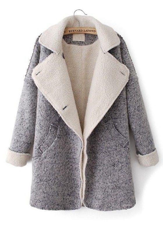 ++ grey pockeets turndown collar long sleeve wool coat fgwmbrh