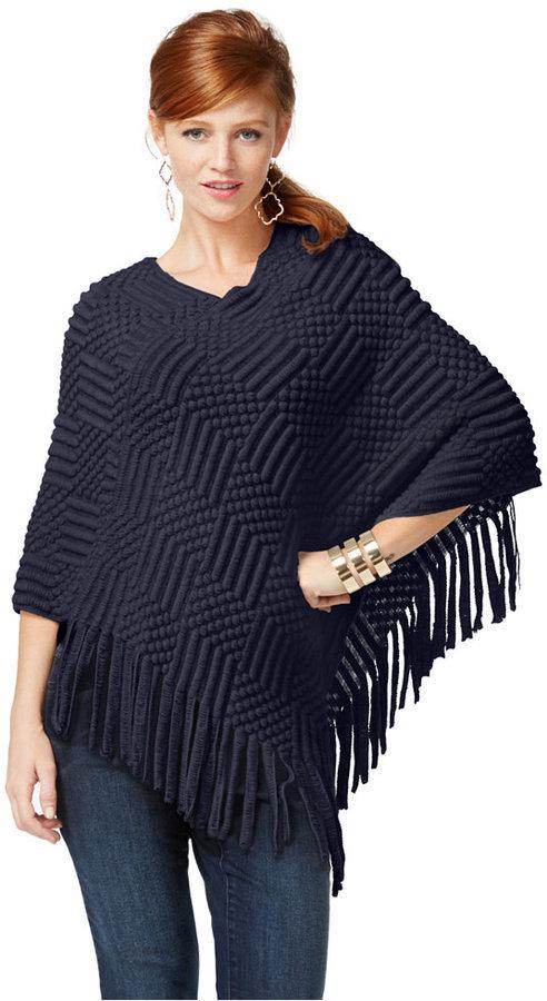 ... inc international concepts textured v hem fringed poncho sweater only  at macys fxriylx