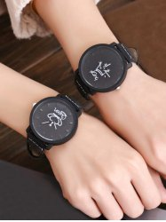 ... king queen crown analog couple watches - black ... gzknlso