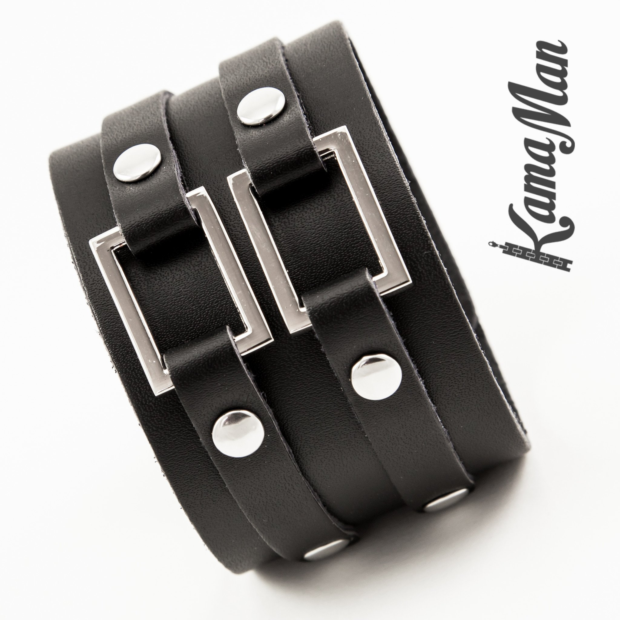 ... menu0027s bracelet - dual closure black leather cuff bracelet - 4 ... jgeoocj