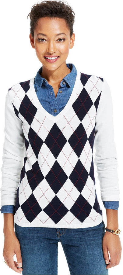... tommy hilfiger v neck argyle sweater ixbwqht