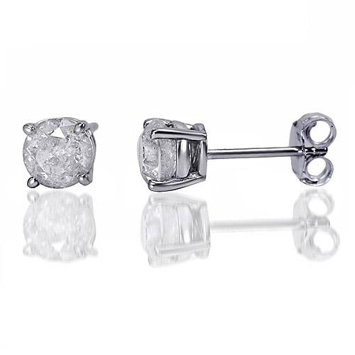1 carat t.w. round diamond sterling silver stud earrings htblstv