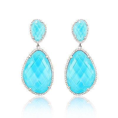 14k gold diamond ocean blue topaz earrings KGCOOOU