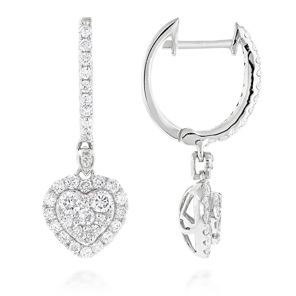 14k gold drop diamond heart earrings hoop dangles by luxurman 1 carat mhxirqa