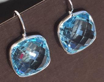 14k solid white gold and blue topaz earrings, large earrings, checker board blue  topaz PGVZOAR