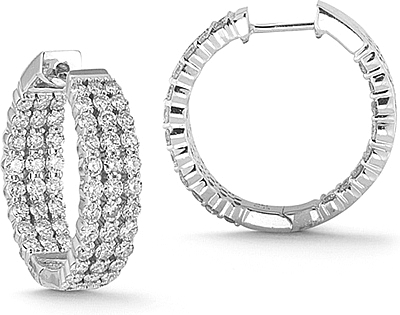 14k white gold 3.00ct triple row diamond hoop earrings 150-02448 wjkhlaq